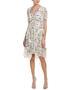 BCBGMax Azria Women's Naomee Floral Silk Chiffon Dress, Off White Combo, 4