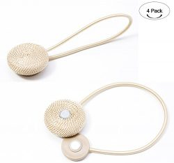 Aucheer Magnetic Curtain Tiebacks, Drapery Holdback for Home Decoration set of 4-2 Pair Beige
