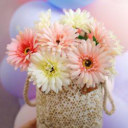 BigOtters Gerbera Daisy,14 Pcs Artificial Flowers Silk Flowers Bouquets, Bride Bridesmaid Holdin ...