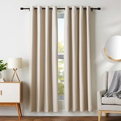 AmazonBasics Room-Darkening Blackout Curtain Set Grommets – 52″ x 84″, Grey-Beige