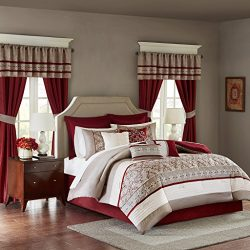 Madison Park Essentials Jelena Queen Size Bed Comforter Set Room In A Bag – Burgundy, Khak ...