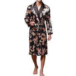 Haseil Men's Satin Robe Dragon Luxurious Silk Spa Long Sleeve House Kimono Bathrobe, Black ...