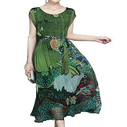 YANXILUNMEI Spring Summer Green Vintage Floral Print Dresses Women O-Neck Short Sleeve Silk Dres ...