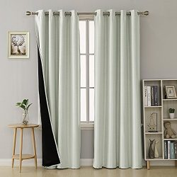 Deconovo Dupioni Faux Silk Lined Thermal Insulated Grommet Blackout Curtains for Girls Room 52W  ...