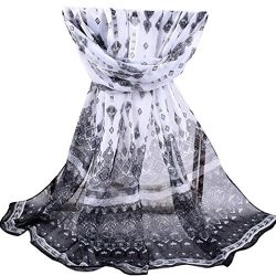 SUEKQ Trendy Chiffon Scarf, Womens Ladies Long Floral Printed Wrap Shawl Silk Head Scarves Beach ...