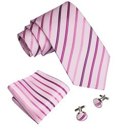 Barry.Wang Pink Tie for Men Set Silk Handkerchief and Cufflinks Party