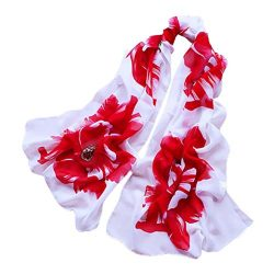 Christmas Gift, Egmy 1PC Women Soft Thin Chiffon Silk Scarf Flower printed Scarves Wrap Shawl (Red)