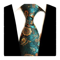 GUSLESON Brand New Mens Paisley Silk Ties for Wedding(0694-01)