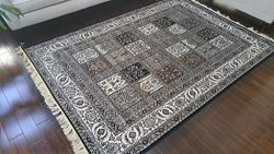 Silk Black Ivory Grey Brown New Traditional Isphan Area Rugs Ultra Low Pile 5'2×7R ...