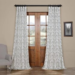 Half Price Drapes Ptpch-170806B-96 Rococo Printed Faux Silk Taffeta Blackout Curtain, 50 x 96, Grey
