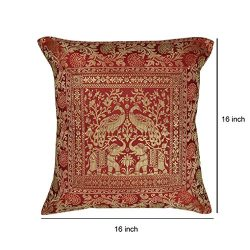 Indian Handmade Designer Silk Cushion Cover For Gift Item 16 X 16 Inches