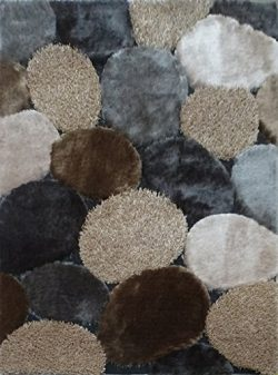 "GRAY/BEIGE Rectangle Hand Made Shag Area Rug Size 4'x5'4"" one inch thickness with Super Soft Fau ..."
