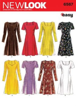 New Look Sewing Pattern 6567 Misses Dresses, Size A (6-8-10-12-14-16)