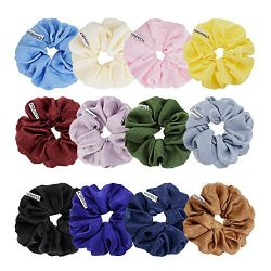 Chloven 12 Colors Large Premium New Velvet Hair Scrunchies Silk Elastic Hair Bobbles Scrunchy Ha ...