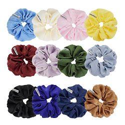 Chloven 12 Colors Large Premium New Velvet Hair Scrunchies Silk Elastic Hair Bobbles Scrunchy Ha ...