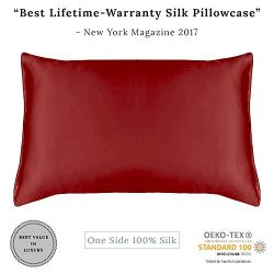 MYK Pure Natural Mulberry Silk Pillowcase, 19 Momme with Cotton Underside for Hair & Skin, O ...