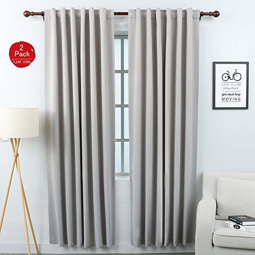 KEQIAOSUOCAI Blackout Curtain Panels Back Tab and Rod Pocket Thermal Insulated Drapes Room Darke ...