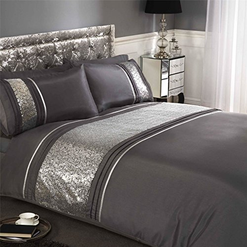 SEQUINS BAND PINTUCK CHARCOAL GREY FAUX SILK USA FULL (COMFORTER COVER 200 X 200 – UK DOUB ...