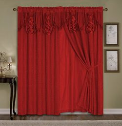Luxury Dallas Jacquard Panel with attached valance 120″ x 84″ + 18″- PUFF Red