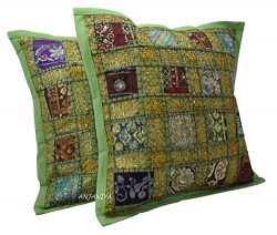 ANJANIYA 2 Embroidery Sequin Cushion Cover 16×16 inches Indian Boho Hippie Patchwork Throw  ...