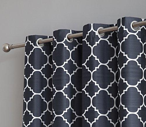 HLC.ME Trellis Print Faux Silk 100% Blackout Thermal Room Darkening Window Curtain Grommet Panel ...