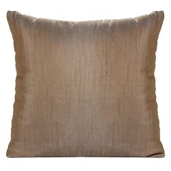 Set of 2 Light Brown Art Silk Pillow Covers, Plain Silk Cushion Cover, Solid Color Light Brown T ...
