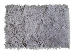 Serene Super Soft Faux Sheepskin Shag Silky Rug Baby Nursery Childrens Room Rug Gray, 2′ x ...