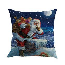 Sothread Christmas Throw Pillowcase Decor Sofa Cushion Cover Santa Claus 18″x18″ (G)
