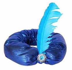partyclub Blue Turban Jewel with Feather Hats