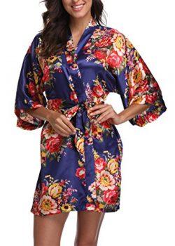 Laurel Snow Floral Satin Kimono Robes for Women Short Bridesmaid and Bride Robe for Wedding Part ...