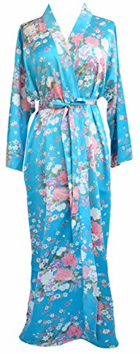 JANA JIRA Women's Long Ankle Length Robe for Women Plus Size Nightgowns Blue Sakura, 2XL/3XL