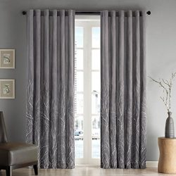 Madison Park Grey Curtains for Living Room, Transitional Rod Pocket Window Curtains for Bedroom, ...
