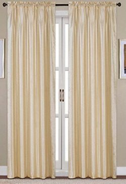 RT Designers Collection Nikki Faux Silk 54 x 84 in. Rod Pocket Curtain Panel, Beige
