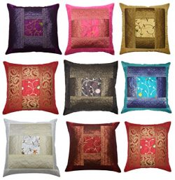 ANJANIYA Indian Ethnic Hand Embroidery Decorative Silk Pillow Cushion Cover Set of 5 Pcs Size 16 ...