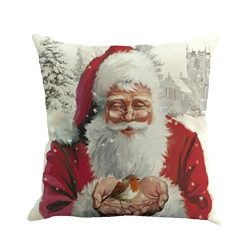 fbR8wawOKPHoYL9 Square Silk Home Decor Cushion Cover, Christmas Printing Dyeing Sofa Bed Home De ...