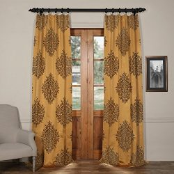 Half Price Drapes JQCH-20160702-84 Ellaria Faux Silk Jacquard Curtain,Olympic Bronze,50 X 84