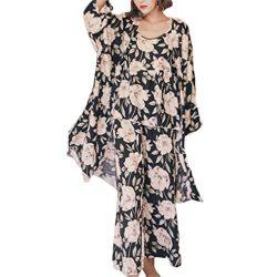 Women's Sleepwear Sets Elegant 3pcs Pajamas Floral Cami Dressing gown and Pants Suits (L,  ...