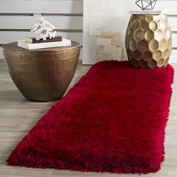 Safavieh Luxe Shag Collection SGX160E Handmade Red Polyester Area Runner (2'3″ x 6&# ...
