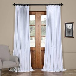 Half Price Drapes PDCH-KBS1BO-84-DW Blackout Extra Wide Vintage Faux Dupioni Curtain, Ice, 100 x 84