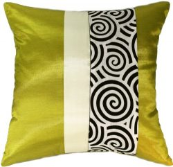 Artiwa Lime & Cream Velvet Spiral 16″x16″ Silk Couch Bed Decorative Pillow Cover ...