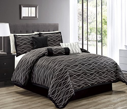 Hillsbro 7 Piece Lori Wave Black Pillow Sham Comforter Set Full Queen King (Queen)