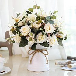 YILIYAJIA Artificial Rose Bouquets with Ceramics Vase Fake Silk Rose Flowers Decoration for Tabl ...