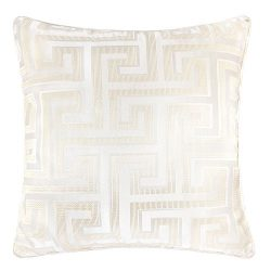 Homey Cozy Satin Jacquard Throw Pillow Cover,Silk Maze Series Ivory Geometric Large Sofa Couch C ...