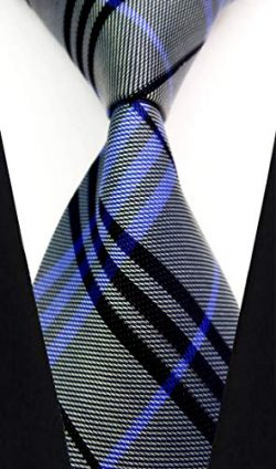w3dayup mens Classic Tie Necktie Woven Plaid Neck Ties For Men Stripe Neck Tie BBR012