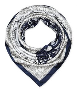 Large Square Satin Silk Like Lightweight Scarfs Hair Sleeping Wraps for Women Navy Blue and Whit ...