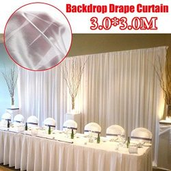 White Ice Silk Backdrop Drapes Curtains Wedding Valance Ceremony Event Party Veils Photo Booth H ...