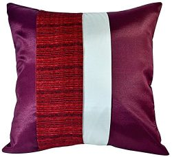 Artiwa SALE 80% OFF Square Throw Couch Bed Decorative Silk Cushion Cover : Maroon & Cream 16 ...