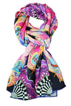ELEGNA Women 100% Silk Art Collection Scarves Long Shawl Hand Rolled Edge (A-Fuchsia Circus)