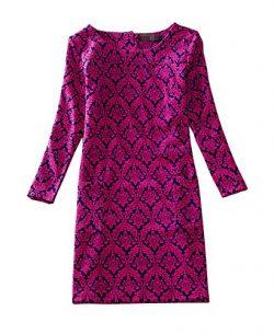 J.cotton Autumn /Winter Floral Print Long Sleeve Boat Neck A-line Midi Casual Dress (L, J-D-6)
