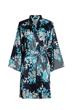 TOPUNER Womens' Summer Sleepwear 3/4 Sleeves, Floral Print Silk Robe Kimono Bathrobe with  ...